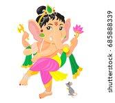 dancing ganesha holding axe... | Shutterstock .eps vector #685888339