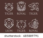 tiger head royal badge with... | Shutterstock .eps vector #685889791