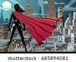 superhero watching over city at ... | Shutterstock .eps vector #685894081