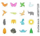 origami icons set. cartoon... | Shutterstock .eps vector #685897339