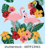 vector illustration of flamingo ... | Shutterstock .eps vector #685913461