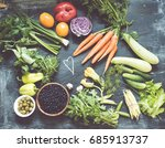 vegetables top view toned photo | Shutterstock . vector #685913737