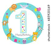 first birthday baby greeting... | Shutterstock .eps vector #685920169