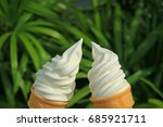 cheers  with a pair of vanilla... | Shutterstock . vector #685921711
