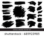 set of black paint  ink brush... | Shutterstock .eps vector #685923985