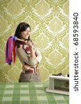retro housewife woman duster cleaning sixties wallpaper