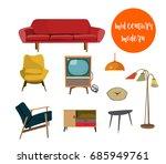 vector mid century modern... | Shutterstock .eps vector #685949761