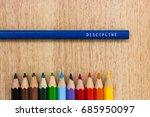 discipline word written on a... | Shutterstock . vector #685950097