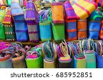 colorful baskets for sale in a... | Shutterstock . vector #685952851