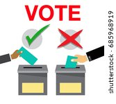 hand putting voting paper in... | Shutterstock .eps vector #685968919