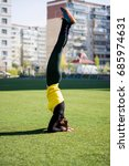 beautiful sporty woman doing...   Shutterstock . vector #685974631