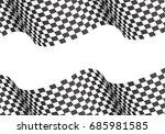 checkered wave on white blank... | Shutterstock .eps vector #685981585