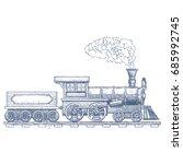 vintage steam locomotive vector ...   Shutterstock .eps vector #685992745