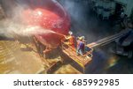 work in floating dry dock with...   Shutterstock . vector #685992985