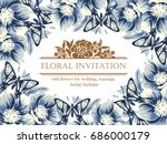 invitation with floral... | Shutterstock . vector #686000179