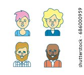 set people head with hairstyle... | Shutterstock .eps vector #686000959