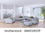 modern bright living room ... | Shutterstock . vector #686018539