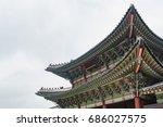 korean traditional roof  korean ...   Shutterstock . vector #686027575