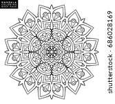 outline mandala for coloring... | Shutterstock .eps vector #686028169