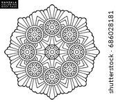 outline mandala for coloring... | Shutterstock .eps vector #686028181