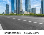 empty asphalt road front of... | Shutterstock . vector #686028391