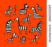 zebra family  sketch for your... | Shutterstock .eps vector #686032069