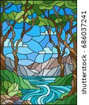illustration in stained glass... | Shutterstock .eps vector #686037241