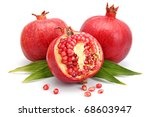pomegranate fruits with green... | Shutterstock . vector #68603947