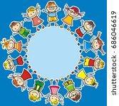 happy kids  vector icon  banner | Shutterstock .eps vector #686046619