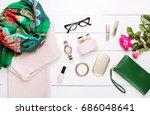 fashion. trendy sweater ... | Shutterstock . vector #686048641