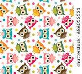Stock vector cute colorful bird seamless pattern with owls and dots for kids stationery designs and clothing 686053531
