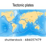tectonic plates. world map with ... | Shutterstock . vector #686057479