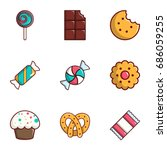 candy icons set. flat set of 9... | Shutterstock .eps vector #686059255