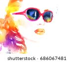 abstract woman face. fashion... | Shutterstock . vector #686067481