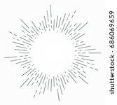vintage hand drawn sunburst... | Shutterstock .eps vector #686069659