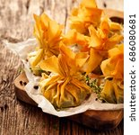 filo pastry stuffed with...   Shutterstock . vector #686080681