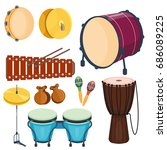 musical drum wood rhythm music...   Shutterstock .eps vector #686089225