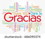 gracias  thank you in spanish ... | Shutterstock .eps vector #686090374