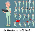 a set of old men with digital... | Shutterstock .eps vector #686094871