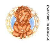 cute toddler lord ganesha holds ... | Shutterstock .eps vector #686098915