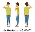 vector illustration of three... | Shutterstock .eps vector #686101009