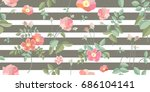 colorful vintage roses.... | Shutterstock .eps vector #686104141