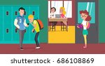 high school vector banner. cute ... | Shutterstock .eps vector #686108869