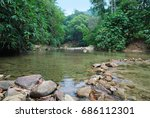 river flows in the jungle of... | Shutterstock . vector #686112301