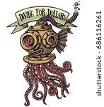 octopus diver | Shutterstock .eps vector #686116261