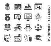 online education icon set.... | Shutterstock .eps vector #686130874