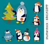 penguin christmas vector... | Shutterstock .eps vector #686141899