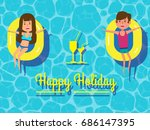 happy couple holiday on... | Shutterstock .eps vector #686147395