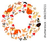 autumn wreath with animals and... | Shutterstock .eps vector #686154211