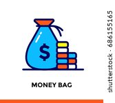 vector outline icons money bag... | Shutterstock .eps vector #686155165